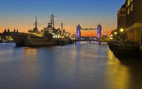 Картинка мост, огни, река, корабль, Англия, Лондон