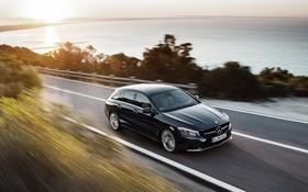 Обои Mercedes-Benz, скорость, горизонт, мерседес, универсал, CLA-Class, X117