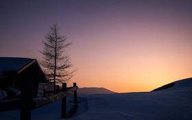 Обои снег, горы, утро