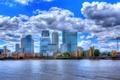 Картинка облака, река, Англия, Лондон, HDR, дома, доки
