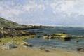 Картинка камни, берег, картина, морской пейзаж, Карлос де Хаэс, Прилив