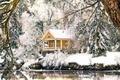 Картинка снег, деревья, домик