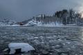 Картинка зима, река, лёд