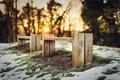 Картинка скамья, снег, зима