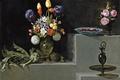 Картинка картина, ваза, Цветами и Стеклянной Посудой, -Хуан ван дер Амен и Леон, Натюрморт с Артишоками