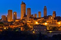 Картинка ночь, огни, башня, небоскреб, дома, Италия, Тоскана