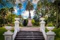 Картинка парк, пальмы, газон, Австралия, лестница, памятник, скамейки