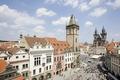 Картинка часы, башня, дома, Прага, Чехия
