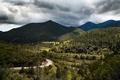 Картинка дорога, облака, деревья, горы, Франция, долина, Corsica