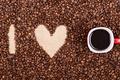 Картинка кофе, love, heart, beans, coffee