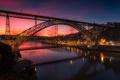 Картинка Порту, мост, река, зарево, дома, Португалия, Дуэро