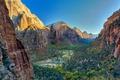 Картинка деревья, горы, природа, река, скалы, каньон, ущелье