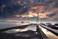 Картинка закат, лодки, пирс