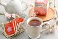 Картинка сакура, чашка, напиток, черный чай
