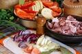 Картинка зелень, лук, мясо, перец, овощи, помидоры, кабачки