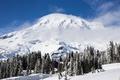 Картинка зима, лес, небо, гора, домик, National Park, Mount Rainier