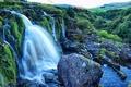 Картинка зелень, камни, водопад, Шотландия, кусты, Loup of Fintry