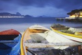 Картинка море, горы, тучи, огни, лодка, Бразилия, Рио-де-Жанейро