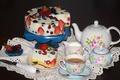 Картинка ягоды, малина, кофе, клубника, торт, сервиз, голубика