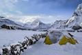 Картинка холод, снег, горы, вершины, палатка, Wolfgang Lutz
