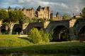 Картинка зелень, лето, солнце, мост, река, замок, Франция