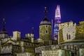 Картинка ночь, Англия, Лондон, башня, дома, Shard