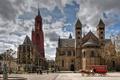 Картинка облака, площадь, башни, карета, Нидерланды, дворец, Maastricht