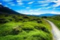 Картинка зелень, небо, трава, облака, горы, долина, тропинка