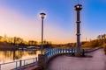 Картинка река, рассвет, фонарь, набережная, Беларусь, Гродно