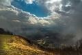 Картинка небо, облака, туман, гора, долина, вид сверху