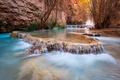 Картинка деревья, ручей, скалы, водопад, каньон, США, каскад