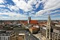 Картинка Германия, Мюнхен, панорама, Мариенплац, Фрауэнкирхе, новая ратуша