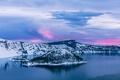 Картинка восход, рассвет, остров, Орегон, Oregon, Crater Lake, Crater Lake National Park