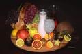 Картинка лимон, яблоко, апельсин, кокос, киви, молоко, сок