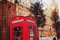 Картинка улица, будка, красная, телефонная