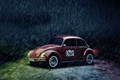 Картинка car, дождь, жук, volkswagen, red, vintage, beetle