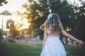 Картинка лето, волосы, ребенок, девочка, сарафан, детская площадка