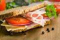 Картинка зелень, сыр, хлеб, бутерброд, помидор, cheese, ветчина