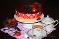 Картинка голубика, торт, клубника, кофе, малина, ягоды