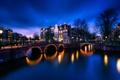 Картинка мост, дома, огни, Амстердам, Нидерланды, канал, ночь