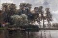 Картинка вода, деревья, пейзаж, дом, картина, Карлос де Хаэс, Канал в Голландии