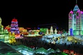 Картинка ночь, огни, Китай, Харбин, фестиваль льда и снега