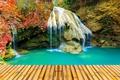 Картинка парк, водопад, Таиланд, мостки