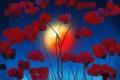 Картинка солнце, цветы, абстракция, краски, картина, холст