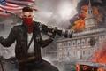 Картинка город, огонь, флаг, арт, солдат, мужчина, винтовка