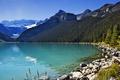 Картинка камни, Канада, небо, солнце, лес, Lake Louise, озеро
