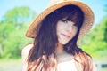 Картинка взгляд, девушка, улыбка, милая, шляпа