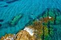 Картинка вода, скалы, ныряльщик, Испания, Средиземное море, Природный парк Кабо-де-Гата