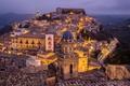 Картинка огни, дома, вечер, Италия, Sicily, Ragusa
