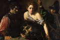 Картинка картина, мифология, Валантен де Булонь, Давид с Головой Голиафа и Двое Солдат